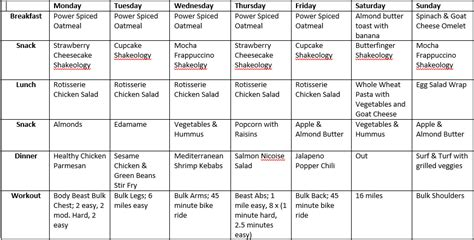 Beast Meal Plan Spreadsheet by Beast Week 4 Michi S Ladder Fitting In Fitness