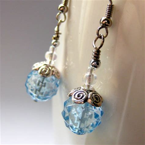 Handmade Beaded Earrings - handmade beaded earrings blue twinkle gilliauna