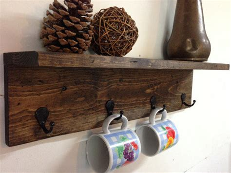 rustic wood wall mug rack with shelf from treetopwoodworks on