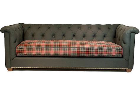 library couch trad plaid library sofa