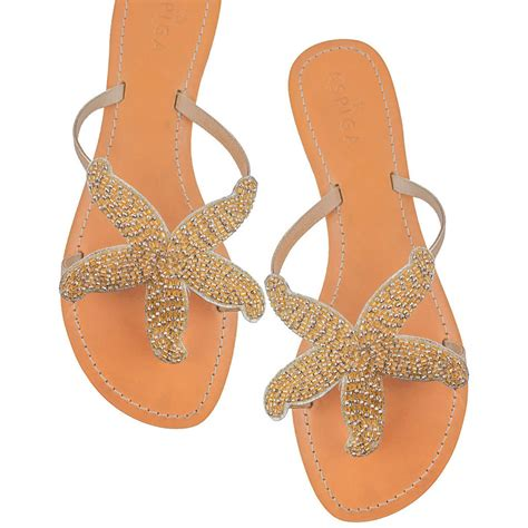 gold starfish beaded flat leather sandals by aspiga