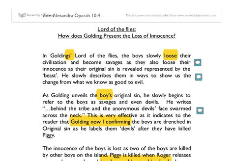 theme statement lord of the flies innocence lord of the flies how does golding present the loss of
