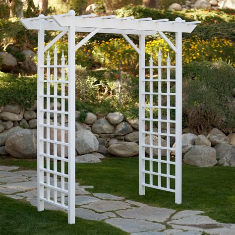 White Trellis Garden Dura Trel Camelot 7 Ft Vinyl Pergola Arbor Arbors At