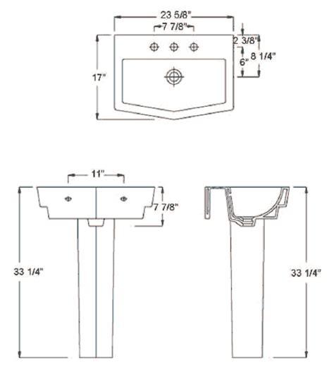 Pedestal Sink Dimensions 23 5 8 Quot X 17 Quot Basin 20 1 2 Quot X 10 5 8 Quot Interior Basin 6 7