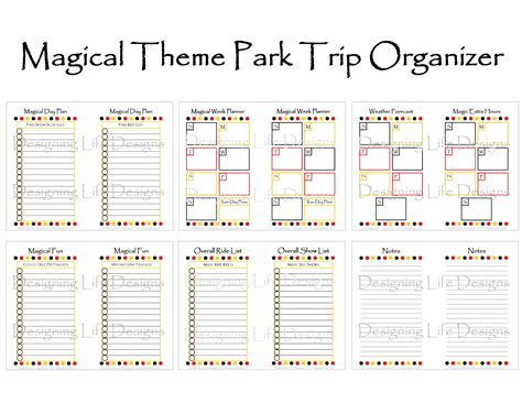 printable disney day planner 8 best images of vacation daily planner printable free