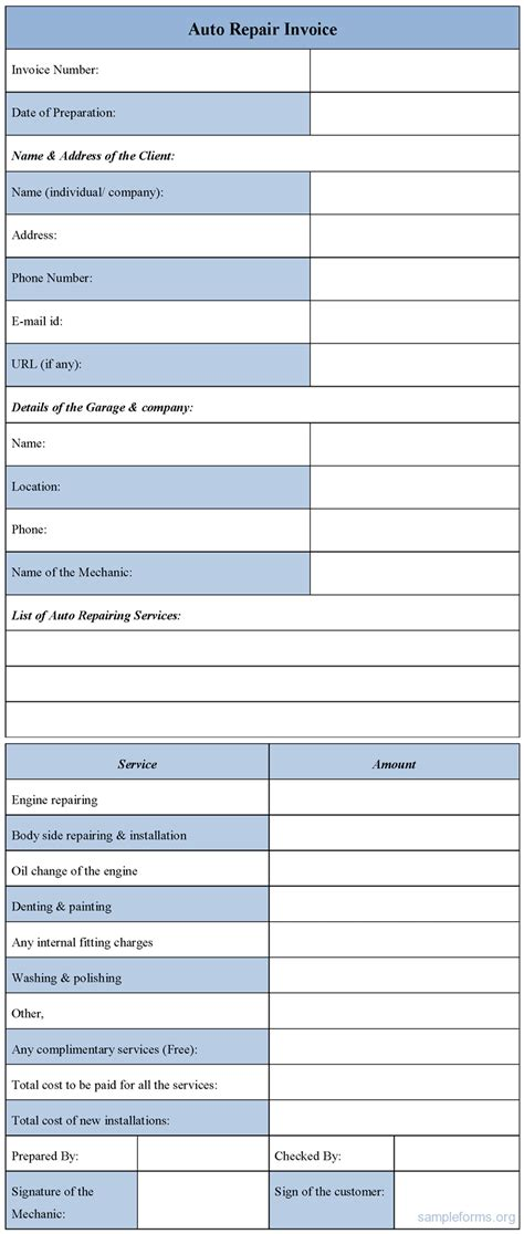 car service receipt template auto repair forms template rabitah net