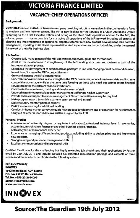 Chief Operating Officer Duties by Chief Operations Officer Coo Tayoa Employment Portal