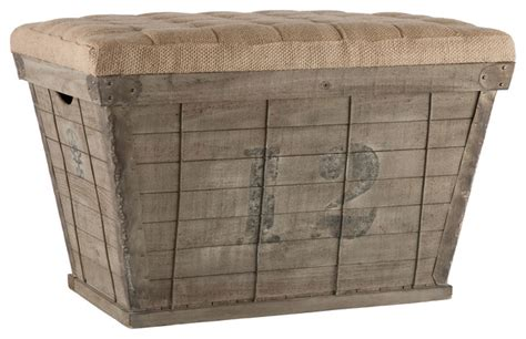 burlap ottoman cubes french country black lettering long storage crate burlap