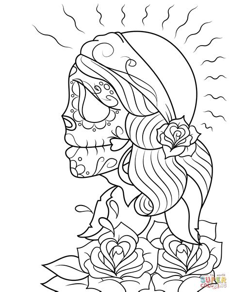 day of the dead woman coloring pages day of the dead girl coloring pages free