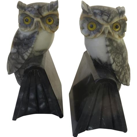 owl bookends vintage italian italy carved marble owl bookends mid century from blacktulip on ruby
