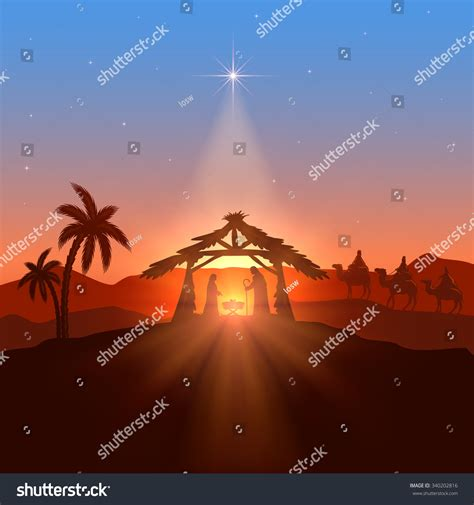 christmas with with christian theme christian theme birth jesus stock illustration 340202816