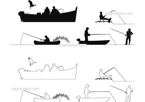 fishing boat cad drawing people fishermen cad blocks free autocad file download
