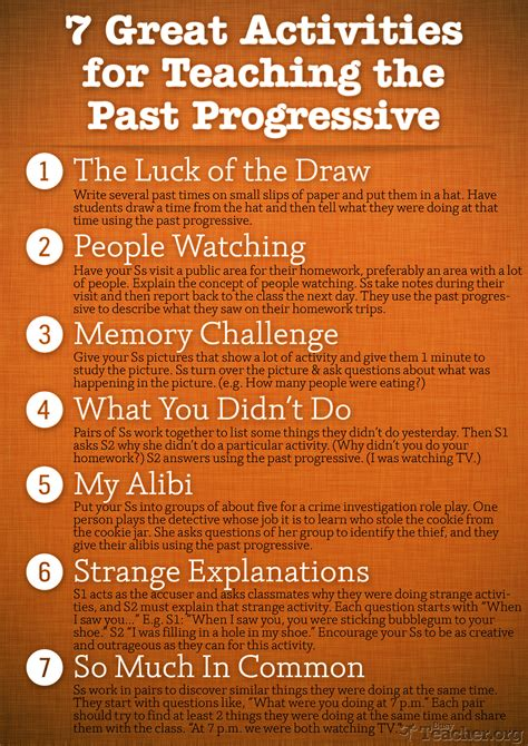 themes for teaching english to adults 7 great activities to teach the past progressive poster