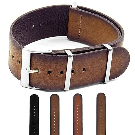 Nato Leather dassari marquis vintage finished italian leather nato