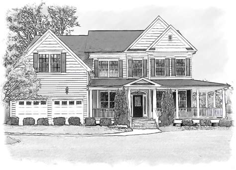 house sketch drawings of houses pencil house portrait done in black