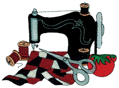Hobbies Embroidery Design: Sewing Machine and Quilt from