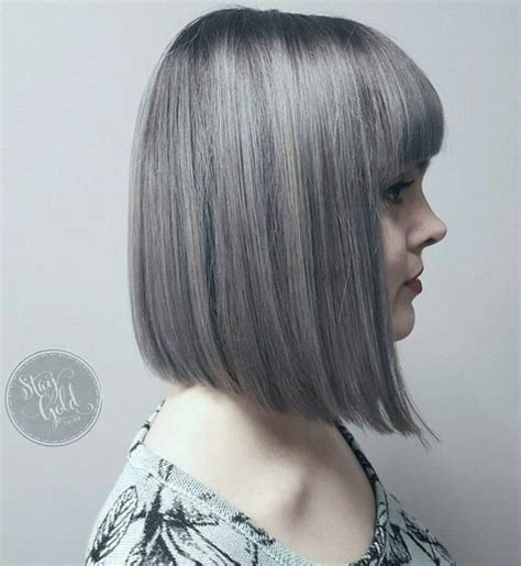 bob hairstyles with bangs for gray hair 20 trendy gray hairstyles gray hair trend balayage