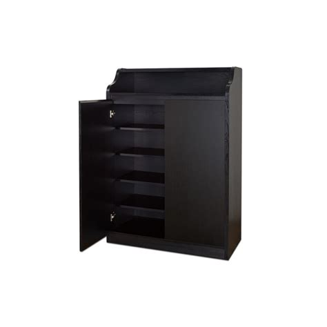 furniture of america nevaeh modern shoe cabinet in black