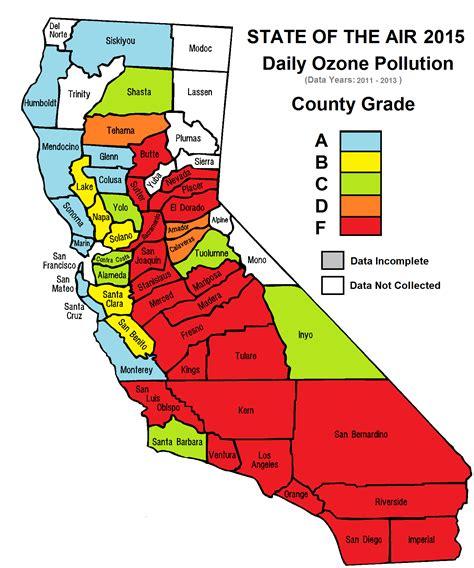 california air quality map california air pollution map california map