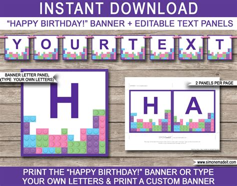 Lego Friends Party Banner Template Birthday Banner Editable Bunting Lego Happy Birthday Banner Template