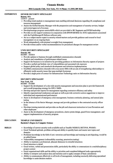 Resume Specialist by Security Specialist Resume Sles Velvet