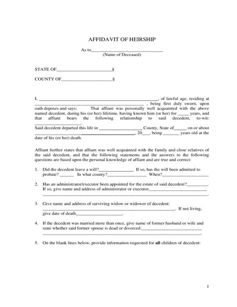 Affidavit Of Heirship Sle Template Free Download Affidavit Of Heirship Template