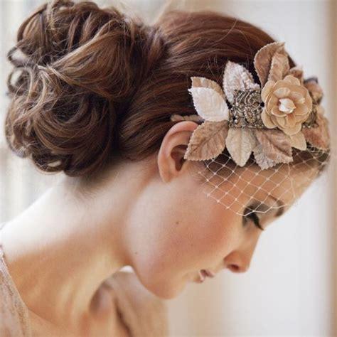 Vintage Wedding Hairstyles Veil by Beige Flowers On Birdcage Bridal Veil Onewed