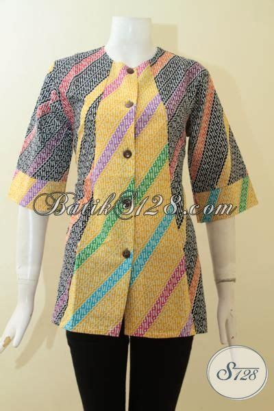 Blus Rok Batik Warna Kode Ba5281 busana batik wanita terbaru warna kombinasi hitam kuning