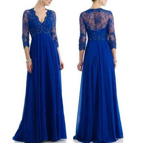 Enfocus Blue Flowers Vneck Dress Original royal blue lace chiffon sleeves v neck of the bridal dress see through back empire