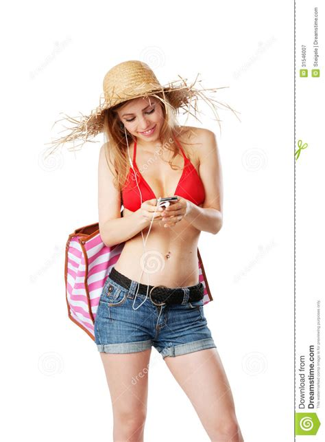 beautiful in white female version mp3 download blonde girl in beachwear switching music on mp3 player