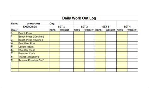 Workout Log Template Wevo Fitness Tracker Template