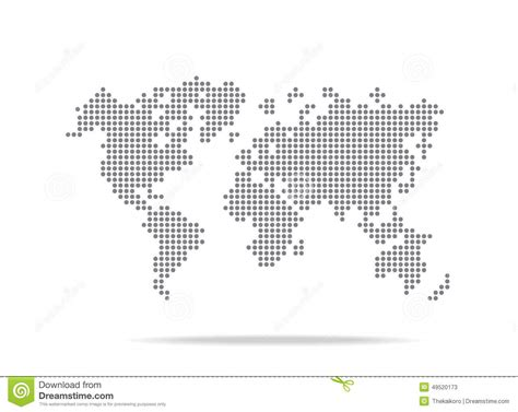 world dot map dot world map isolated on the white background stock