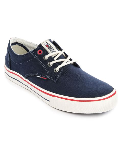 hilfiger sneakers mens hilfiger bic blue canvas sneakers in blue for lyst