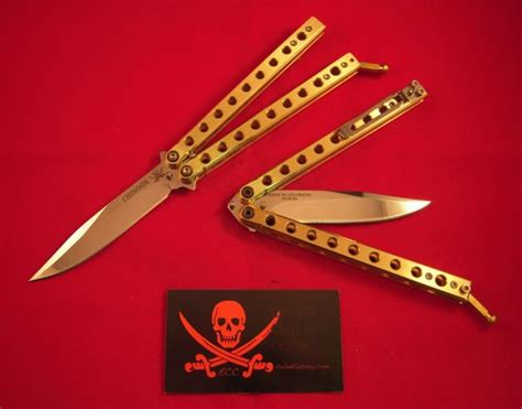 knife song pattern exiled cutlery chinook brass 9 hole plain edge balisong