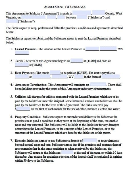 Free West Virginia Sublease Agreement Pdf Template Virginia Lease Template