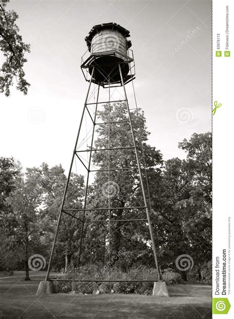 backyard water tower backyard wood water tower black and white stock photo
