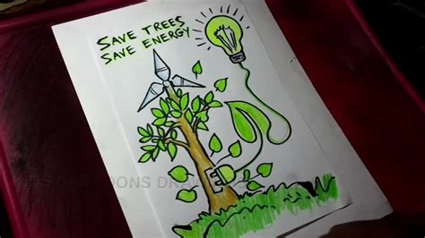 Save Energy Poster Drawing
