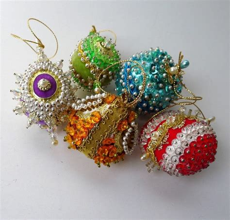 Handmade Beaded Decorations - vintage ornaments beaded sequins and pearls