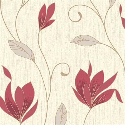 vymura synergy glitter floral wallpaper rich red cream