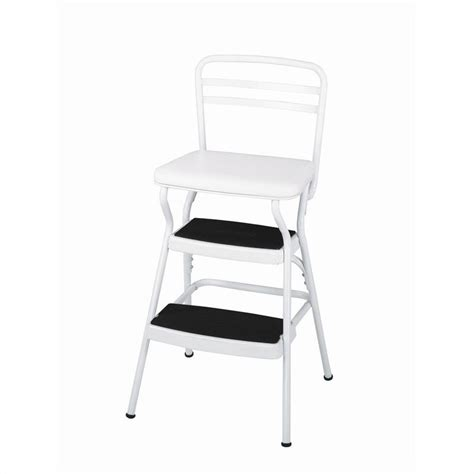 Step Stool Chair by Ameriwood Cosco Collection White Retro Counter Chair W