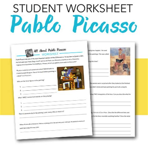 picasso biography for middle school pablo picasso student worksheet deep space sparkle