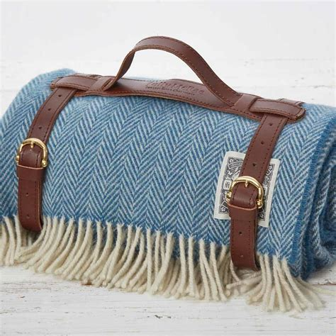 luxury picnic rug luxury steel blue picnic blanket by tolly mcrae notonthehighstreet