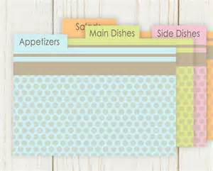 dots recipe card dividers set of 10 4x6 printable by