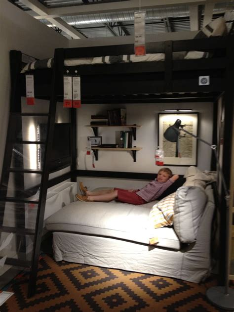 Bunk Bed Ideas For Small Rooms Black Ikea Loft Bed With Sofa Sleeper Using White Fabric Cover Also Brown Bedroom Area Rug And