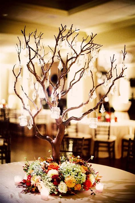 beautiful tree centerpiece with hanging crystals by