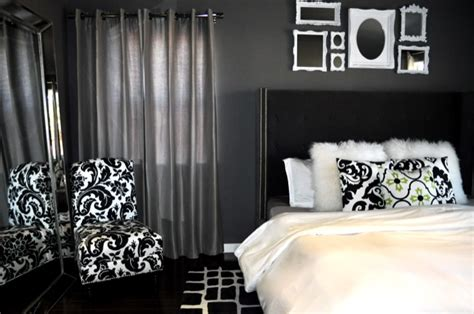 damask bedroom decor black tufted wingback headboard contemporary bedroom