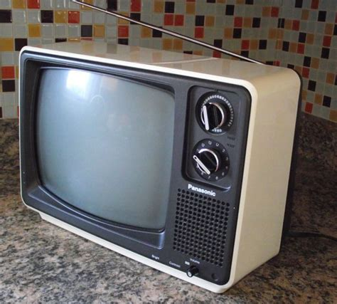 Tv Portable panasonic television space age 1970s style black and white