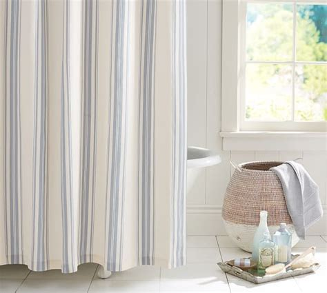 evan stripe shower curtain pottery barn