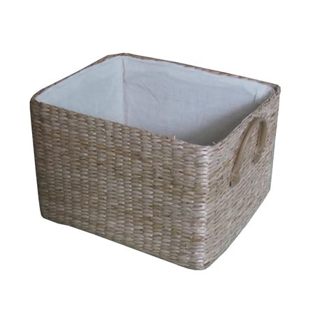 Storage Baskets   soft rush rectangular deep lined storage basket