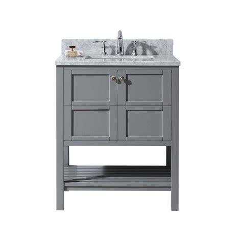 Bathroom Vanities No Sink Virtu Usa Winterfell 30 In W X 22 In D Vanity In Grey With Marble Vanity Top In White With
